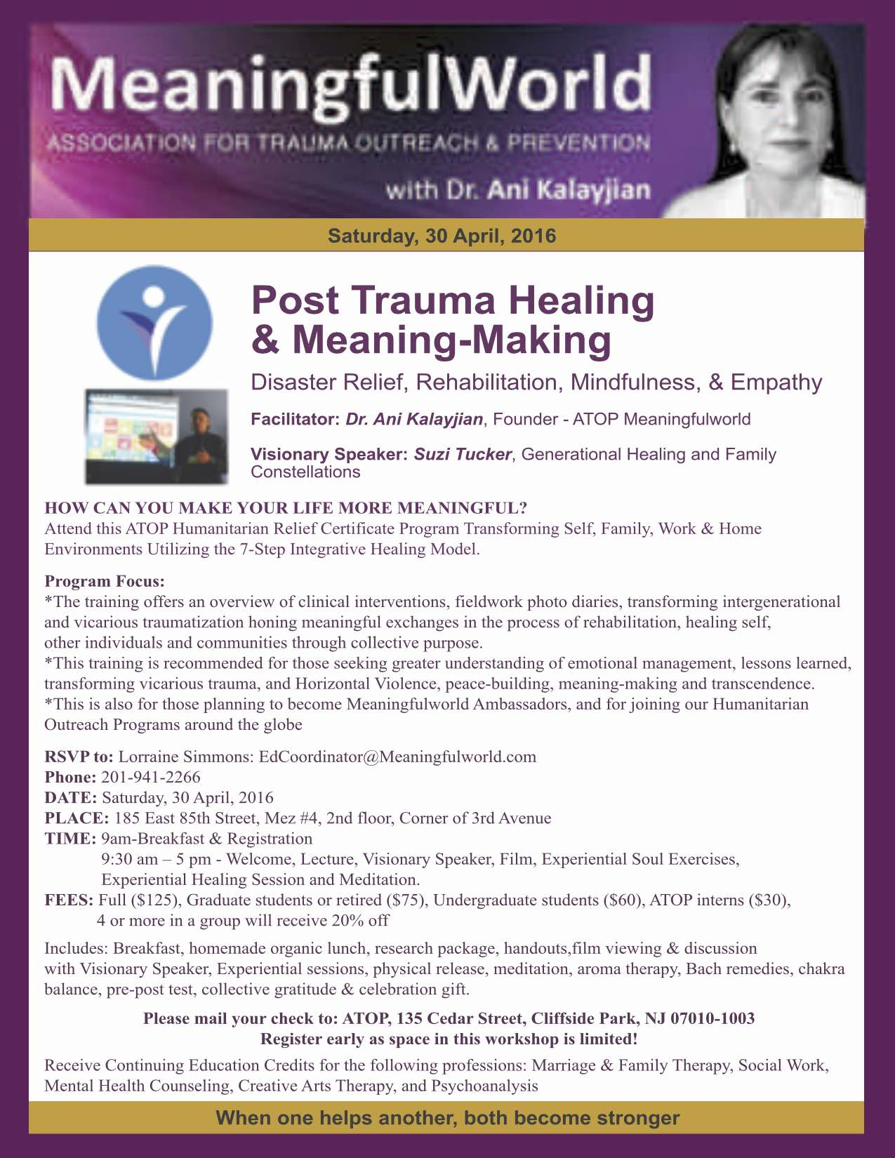 Meaningfulworld PostTrauma Healing 30 April 2016