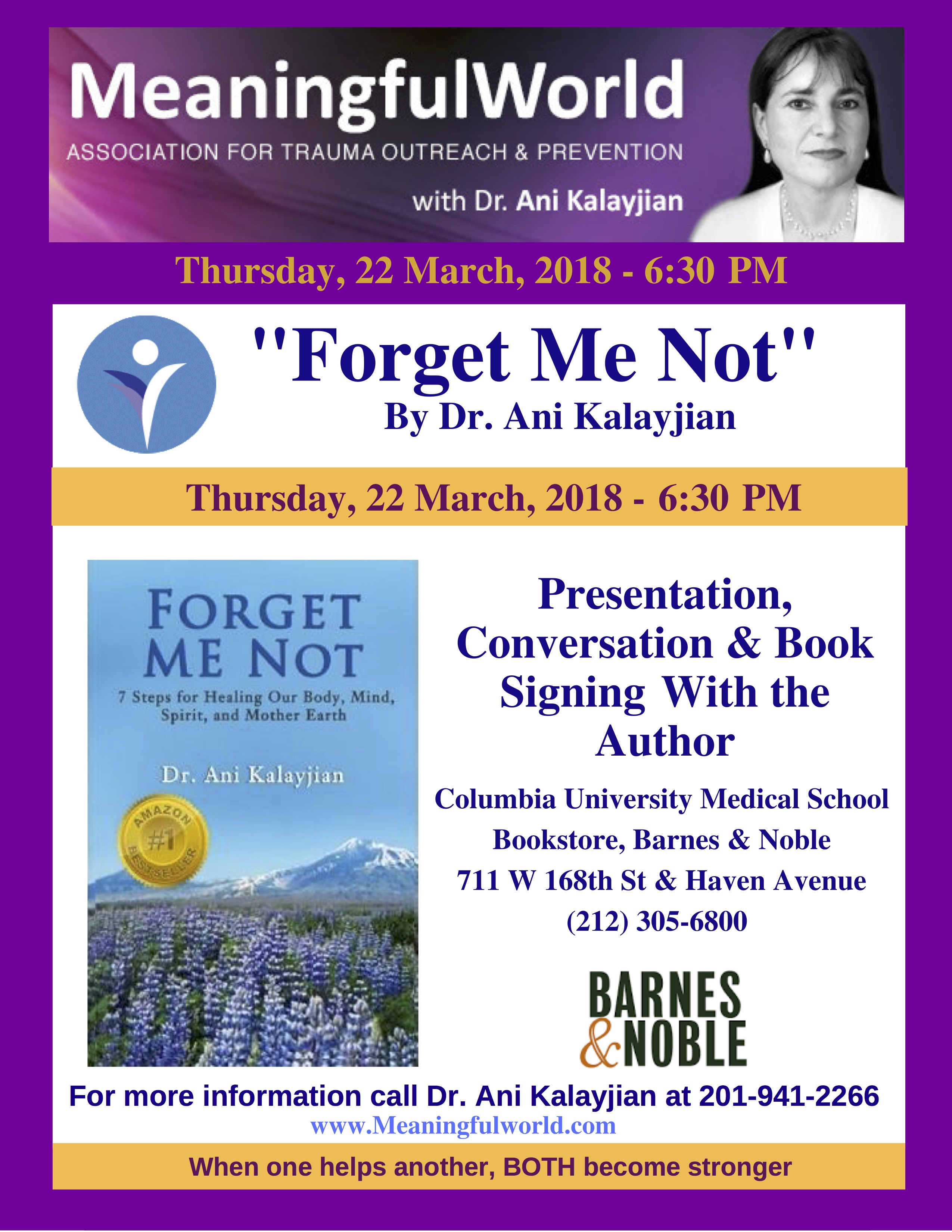Forget Me Not book speak at Columbia Barnes & Noble 22  March 2018-2 copy