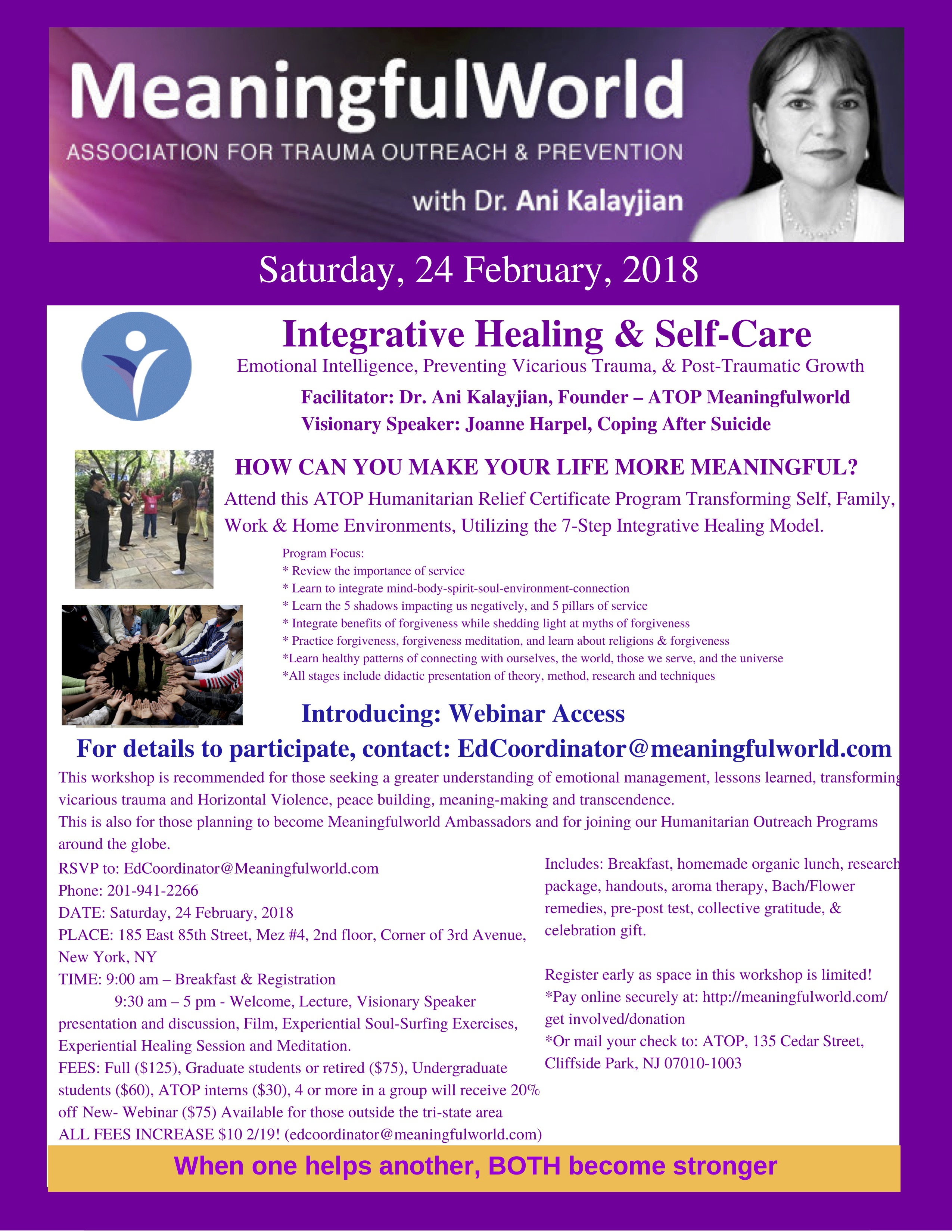 Meaningfulworld Integrative Healing & Self-Care 24 February 2018 all day workshop