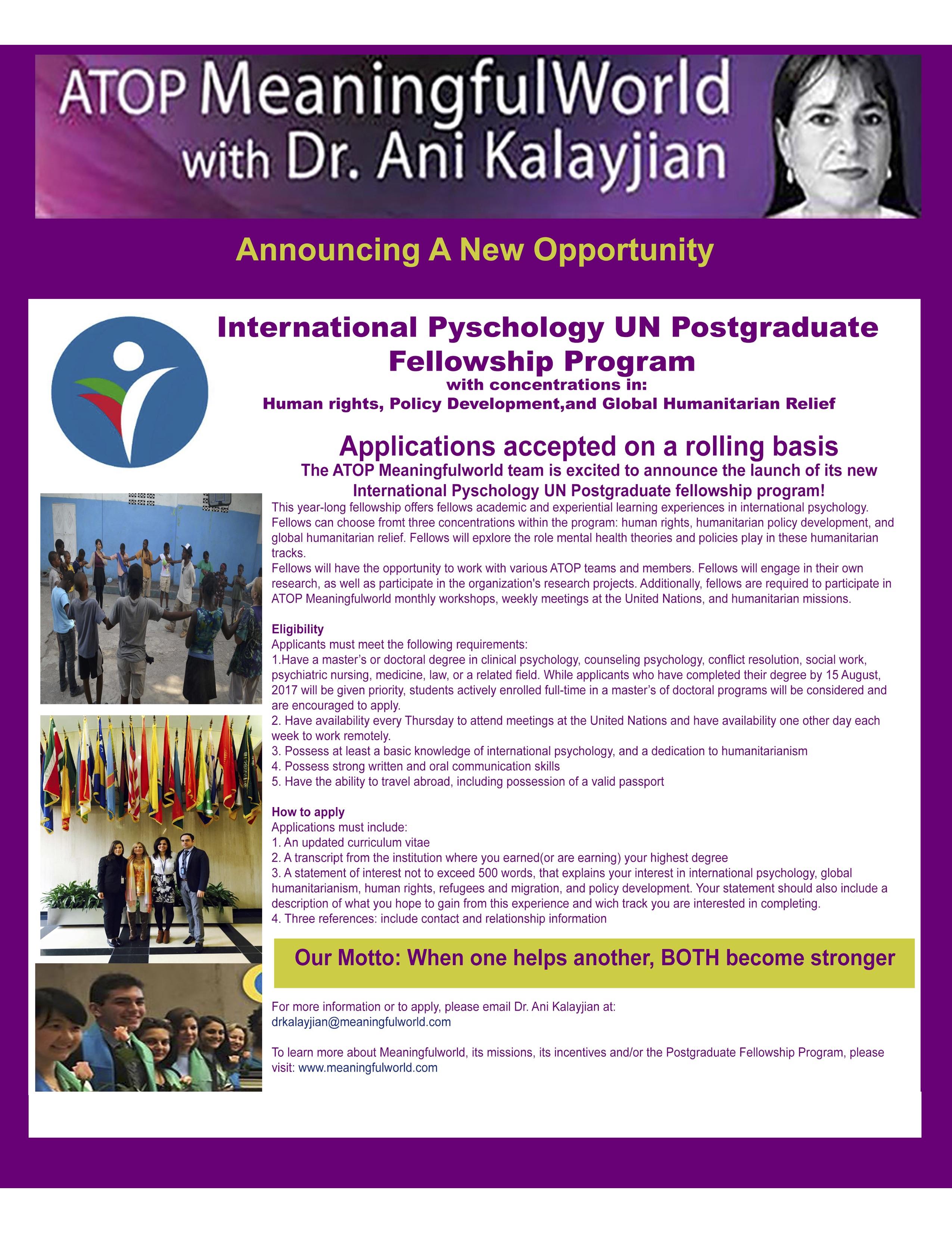 Meaningfulworld Postgraduate Fellowship at UN 2017