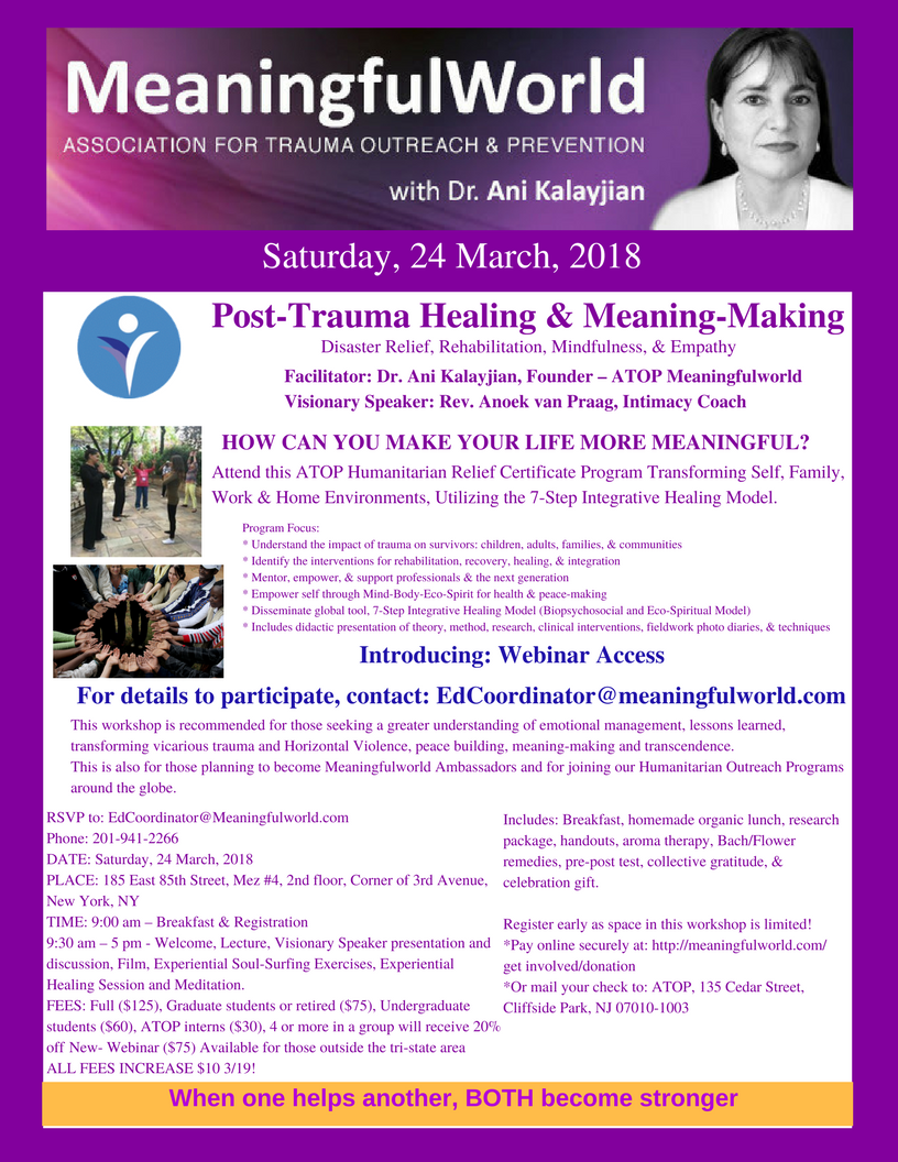 Meaningful World, 24 March, Post-Trauma Healing & Meaning-Making, Kindly RSVP, 2018